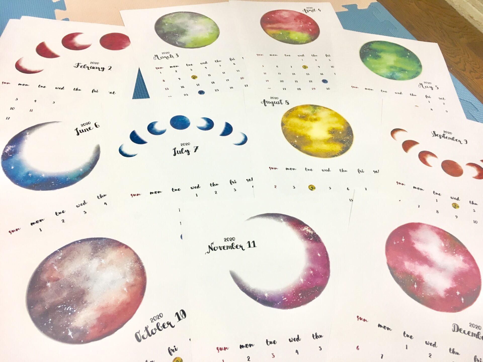 月のイラストカレンダー